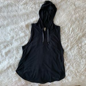 UA Black Hooded Sleevless Mesh Athletic Top